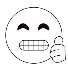 Grimacing face emoticon funny thin line vector