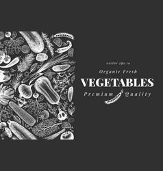 Hand drawn vegetables design template veggie on vector