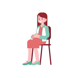 Happy pregnant woman sitting on chair and touching vector