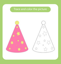 hat cone with simple shapes trace and color the vector image
