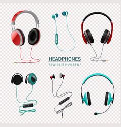 Headphones realistic set transparent vector