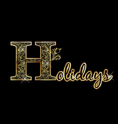 holidays greeting card gold text lettering vector image