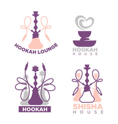Hookah house or shisha lounge bar icons set vector