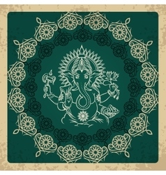 Indian god elephant Ganesha vintage card vector image