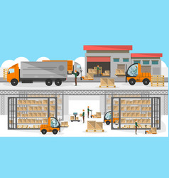 Loading process in storehouse banner vector