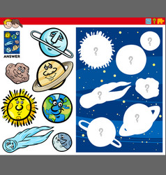Matching shapes game with cartoon planet vector