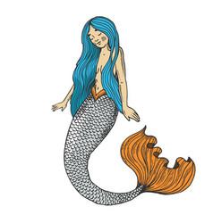 mermaid fabulous creature color engraving vector image