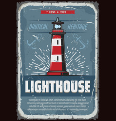 Nautical lighthouse on sea cliff vintage poster vector