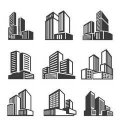 office buildings houses line and bold icons set vector image