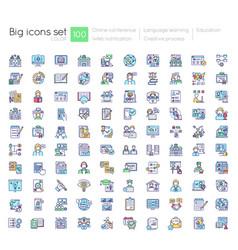 online education blue rgb color icons set vector image