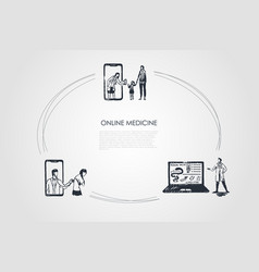 online medicine - people ordering medicine vector image