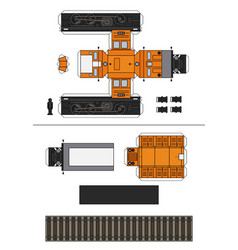 paper model a vintage diesel locomotive vector image