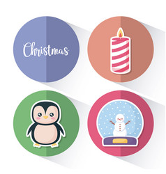 penguin with set icons of christmas vector image