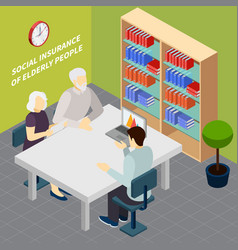 pensioners social security isometric vector image