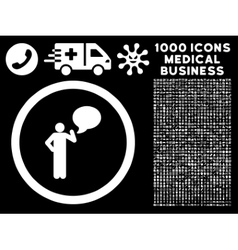 Person idea rounded icon with medical bonus vector
