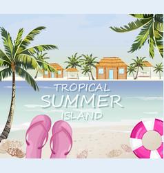 pink flipflops at sea summer seaside banner vector image