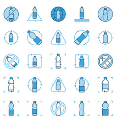 plastic bottle recycling blue icons set vector image