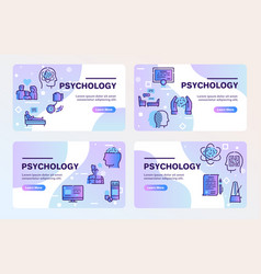 Psychology items color linear icons set vector