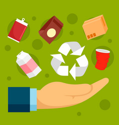 Recycle object in palm concept background flat vector