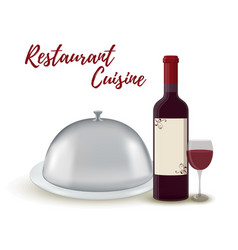 restaurant set - wine bottle silver cloche vector image
