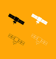 satellite set black and white icon vector image