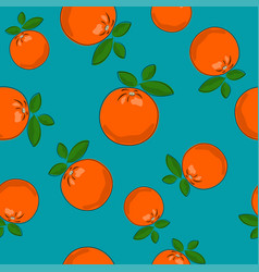 seamless pattern orange on azure background vector image