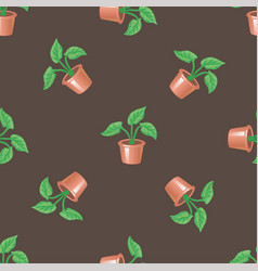 seamless pattern with pot and plant on a brown vector image