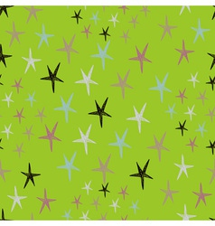 Seamless stars pattern with colorful doodles on a vector image