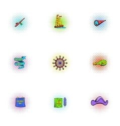 search mainland icons set pop-art style vector image