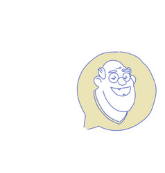 senior male head chat bubble profile icon elderly vector image