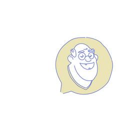 Senior male head chat bubble profile icon elderly vector