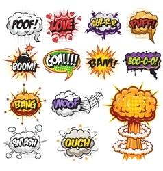 Set comics speak and explosion bubbles vector