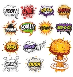 Set of comics speach and explosion bubbles vector image