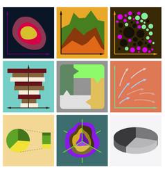 Set of flat icons on stylish background economic vector