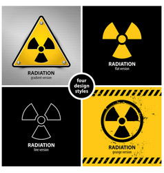 Set of radiation warning symbols vector