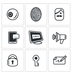 Set of security technology icons retinal vector