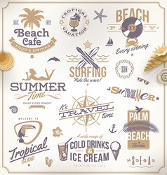 set of travel and vacation emblems vector image vector image
