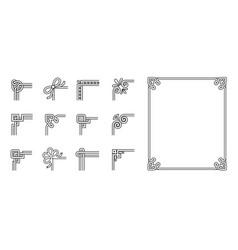 Set ornamental corners different style vintage vector