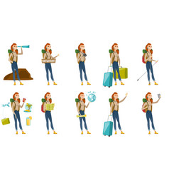 set with traveler characters vector image
