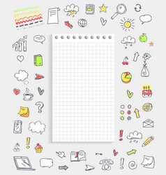 sheet paper with icons on vector image