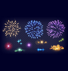 shine fireworks glow splashes realistic fire vector image