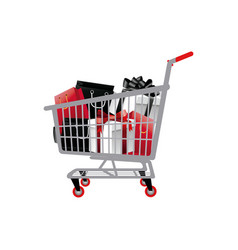 shopping cart full of shopping bags and gift boxes vector image