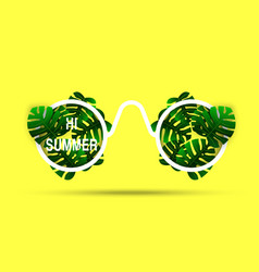 slogan hi summer text on the yellow tropical party vector image