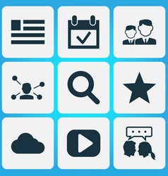social icons set with friends dialog vector image