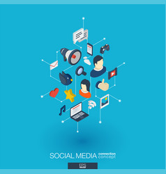 Social media integrated 3d web icons digital vector