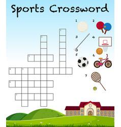 Sport crossword game template vector