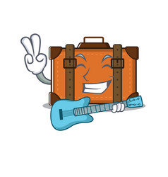 Suitcase happy with guitar on a with character vector