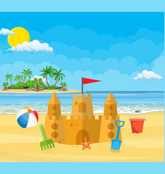 Summer vacation sand castle vector