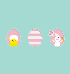 three painted eggs happy easter rabbit vector image