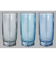 Three transparent glass vector image